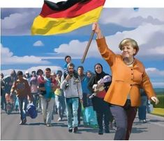Merkel mit Flagge