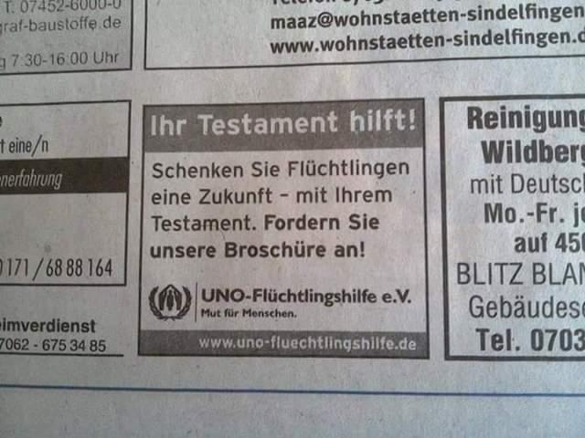 Testament Flüchtlinge